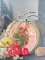 19th Century Still Life with Grapes, Pumpkin, Tomatoes Oil on Canvas (6 of 12)