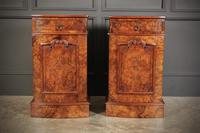 Late Victorian Figured Walnut Bow Front Bedside Cabinets (5 of 17)