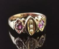 Antique Victorian Amethyst and Pearl Ring, 9ct Rose Gold (8 of 10)