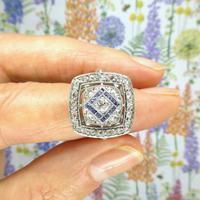 Authentic Art Deco Platinum Rose Cut Diamond & Sapphire Cluster Ring c.1920 (7 of 11)