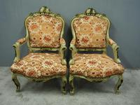 Pair of Italian Carved and Painted Armchairs (15 of 16)