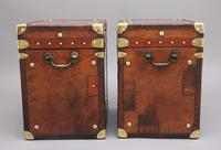 Pair of 20th Century Leather Bound ex Army Trunks in Excellent Condition (6 of 11)
