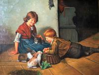 Huge Stunning 20thc Oil Portrait Painting Of 2 Children Playing In A Barn (3 of 12)