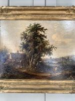 Antique Victorian Landscape Oil Painting of Inn with Figures (4 of 10)