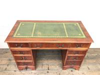 Reproduction Yew Wood Kneehole Desk (4 of 12)