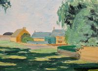 Exquisite Original Early 20th Century Impressionist Farmland Landscape Oil Painting (9 of 12)