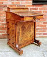 Antique Victorian Inlaid Burr Walnut Davenport Writing Desk (3 of 12)