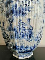 Imposing 19th Century Dutch Delft Blue & White Vase & Cover (4 of 15)