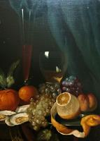 Fine Original 19thc Antique Spanish Fruit Wine & Oyster Still Life Oil Painting (11 of 13)