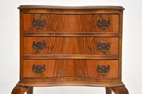 Antique Figured Walnut Side Table with 3 Drawers (3 of 7)