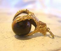 Vintage 9ct Gold Pocket Watch Chain Fob 1977 Large Talon or Claw with Tigers Eye Ball (3 of 11)