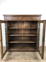 Victorian Glazed Oak Cabinet with Carved Detail (6 of 10)