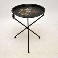 Antique French Enamelled Tole Folding Side Table (4 of 8)