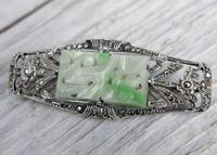 Art Deco Silver and Jadeite Brooch with Marcasites,  1930s (2 of 7)