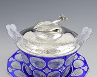 Early Victorian Blue & White Overlay Glass Butter Dish Silver Cow Cover (8 of 15)