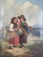 Antique oil painting study of peasant girls carrying sheaves of corn (6 of 10)