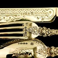 Antique Victorian Solid Silver Gilt Traveling / Christening Cutlery Set - Martin Hall & Co. 1872 (18 of 22)