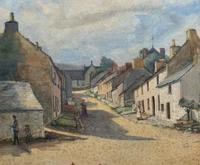 Large Original Edwardian Antique Yorkshire Hamlet Landscape Watercolour Painting (6 of 13)