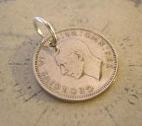 Vintage Pocket Watch Chain Fob 1950 Lucky Silver Sixpence Old 6d Coin Fob (2 of 8)