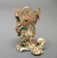 Samuel Alcock Flower Encrusted Cornucopia Vase c.1830-1835 (3 of 6)