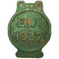 Early 20th Century Reclaimed Cast Iron Green Railway Train Sign Plaque EW1
