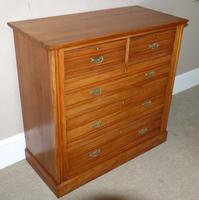 Late Victorian Satin Walnut Chest of Drawers (2 of 6)