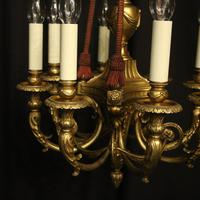 French 19th Century Gilded Bronze 8 Light Antique Chandelier (4 of 10)