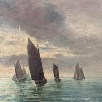 Antique marine seascape oil painting Fishing Boats with a good catch signed W Graves 1918 (6 of 11)