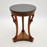 Neoclassical Style Walnut Marble Top Side Table (2 of 8)