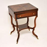 Antique Victorian Inlaid  Rosewood Envelope Card Table (3 of 12)