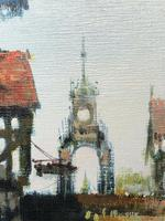 English Atmospheric Oil Painting Historic Chester Eastgate Street Clock After Ben Maile (5 of 12)