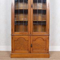 Oak Leaded Glazed Bookcase Arts & Crafts (4 of 10)