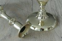 Pair Victorian Brass Candlesticks c.1850-1870 Round Base with Pushers 8.75 Inch (3 of 5)