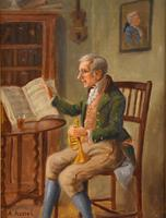"""Oil Painting by Alexander Austen """"The Trumpet Player"""" (2 of 5)"""