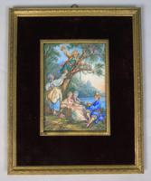Beautiful Miniature Painting after Boucher 'Birding' (2 of 6)