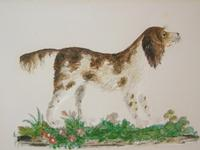 Charming Antique Watercolour of Spaniel Embossed (4 of 4)