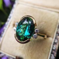Vintage 18ct Gold Green Tourmaline & Diamond Dress Ring (6 of 13)