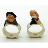 Extremely Rare Pair of Royal Doulton Dickens Napkin Rings in Original Box 1920 (2 of 8)