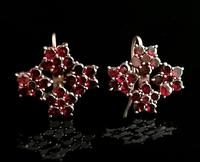 Antique Victorian Bohemian Garnet Flower Earrings, 9ct Gold (3 of 11)