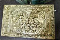 Embossed Brass Log or Coal Box, or Slipper Box with Tavern Scenes (6 of 6)