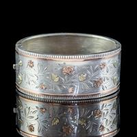 Antique Victorian Floral Cuff Bangle Silver Gold c.1890 (2 of 6)