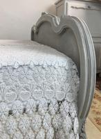 Antique French Double Bed Frame & Pot Cupboard Painted in Weathered Grey (2 of 12)