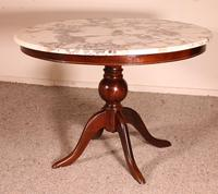 Mahogany Pedestal Table With Marble