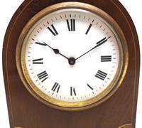 Impressive Thin Mahogany Edwardian Lancet Clock Timepiece Mantel Clock (6 of 11)