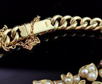 Antique 15ct Gold Ruby and Pearl Curb Bracelet, Floral (5 of 10)