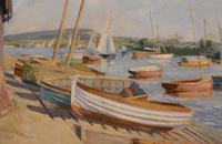 Boats in Harbour Oil Painting by Marjorie Mort (1906-1988) (4 of 6)