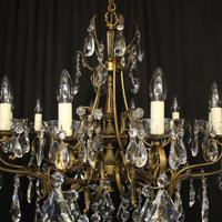 Italian 10 Light Gilded & Crystal Chandelier (9 of 10)