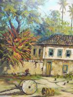 Large oil on canvas tropical sunshine view Brazilian artist Chediac (8 of 10)