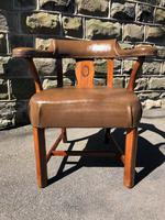 Antique Walnut & Leather Desk Chair (8 of 8)