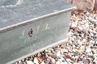 Scandinavian / Swedish 'Folk Art' original paint green/blue large table/alms/bible box raised on feet 1852 (28 of 36)